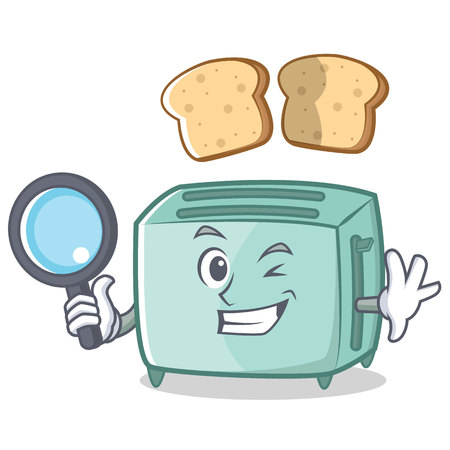Detective toaster character cartoon style