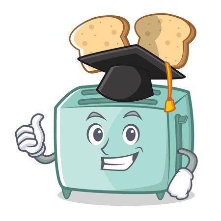 Graduation toaster character cartoon style