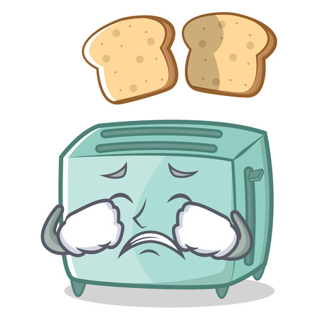 Crying toaster character cartoon style