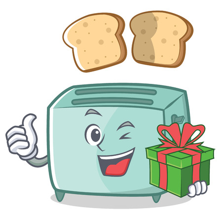 With gift toaster character cartoon style