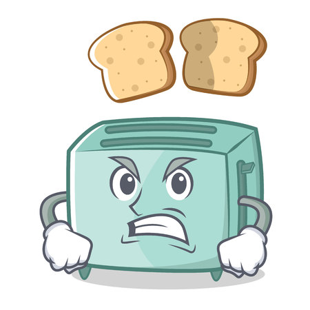 Angry toaster character cartoon style Illustration