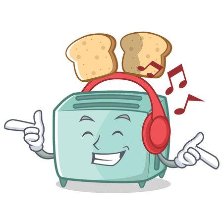 Listening music toaster character cartoon style