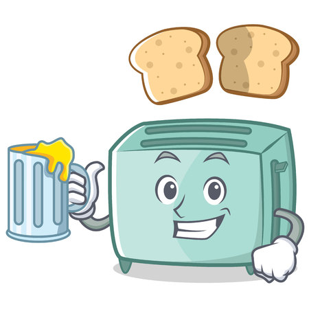 With juice toaster character cartoon style illustration.