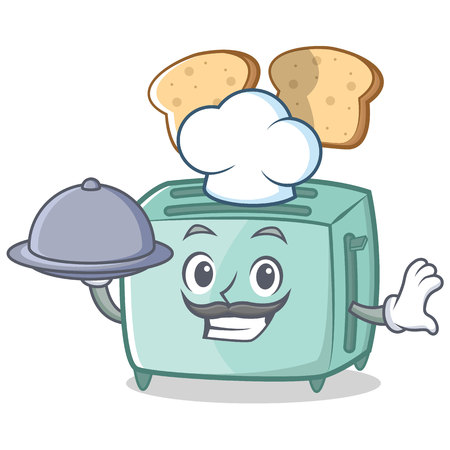 Chef toaster character cartoon style illustration.