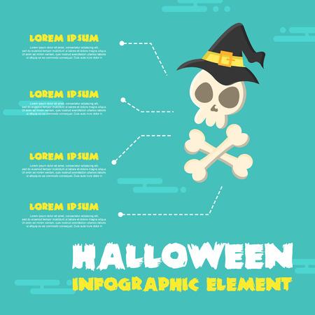 Infographic Halloween Theme Design Collection Illustration. Illustration