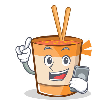 telephone cartoon: With phone cup noodles character cartoon vector illustration