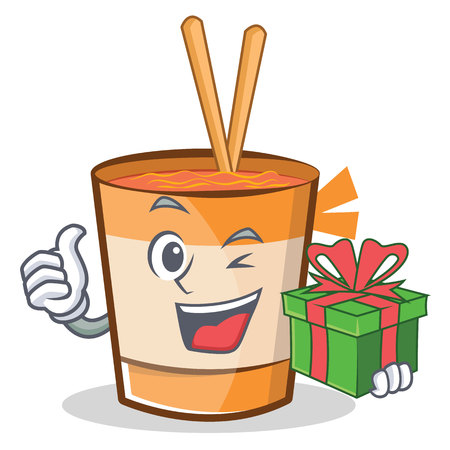 With gift cup noodles character cartoon vector illustration