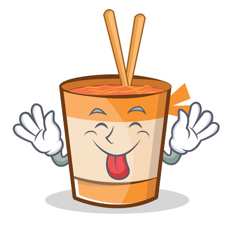 Tongue out cup noodles character cartoon vector illustration Illustration