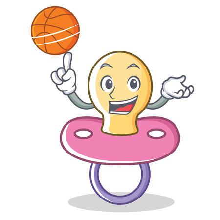 Playing basketball baby pacifier character cartoon vector illustration. Illustration