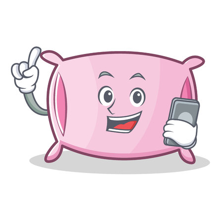 slumber: Pillow with phone character cartoon style vector illustration