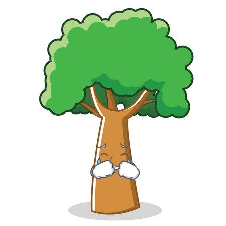 Huilende emotie op boom stripfiguur cartoon, geïsoleerd op wit