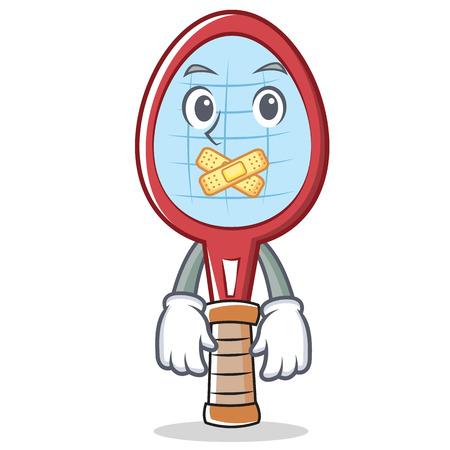 Silent tennis racket character cartoon vector illustration. Illustration