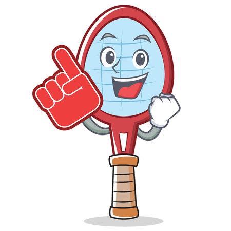 Foam finger tennis racket character cartoon vector illustration. Illustration