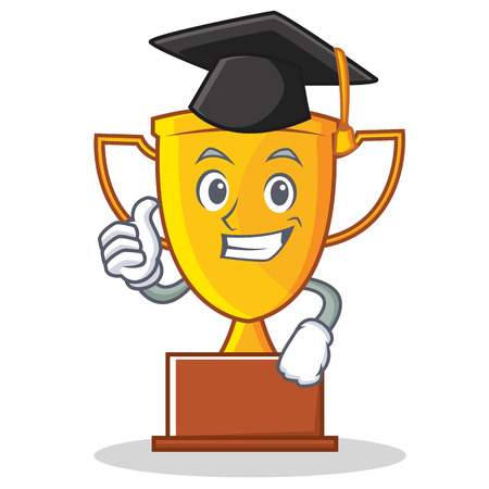 Graduation trophy character cartoon style on white background.