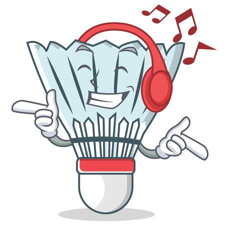 shuttlecock: Listening music shuttlecock character cartoon vector