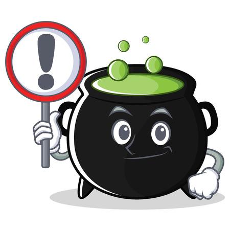 With sign magic cauldron character cartoon