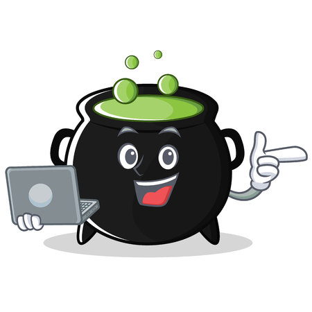 With laptop magic cauldron character cartoon Illustration