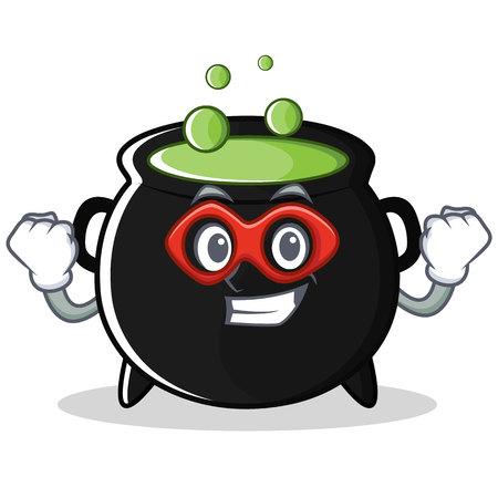 Super hero magic cauldron character cartoon
