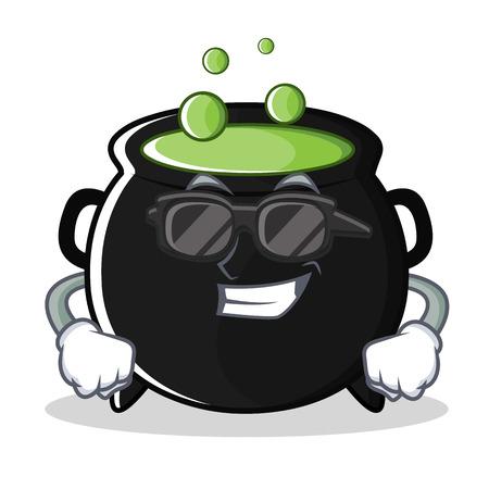 Super cool magic cauldron character cartoon Иллюстрация