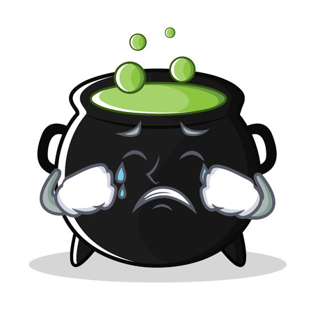Crying magic cauldron character cartoon Illustration