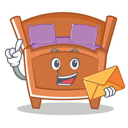 봉투로 귀여운 침대 캐릭터 만화