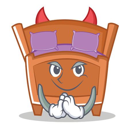 Devil cute bed character cartoon vector illustration.