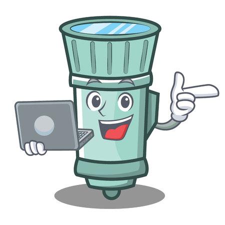 With laptop flashlight cartoon character style vector illustration Illustration