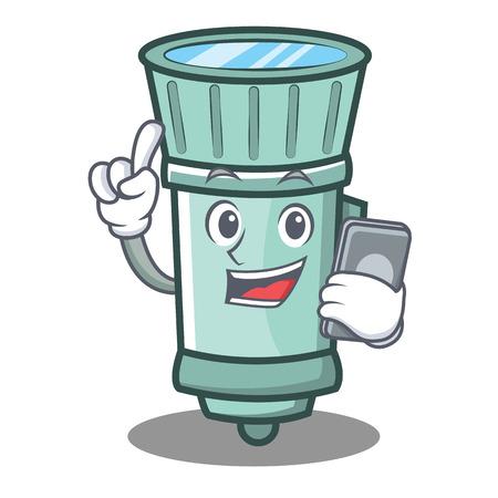 With phone flashlight cartoon character style vector illustration