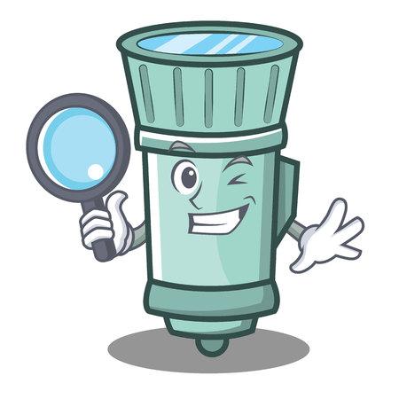 Detective flashlight cartoon character style. Illustration