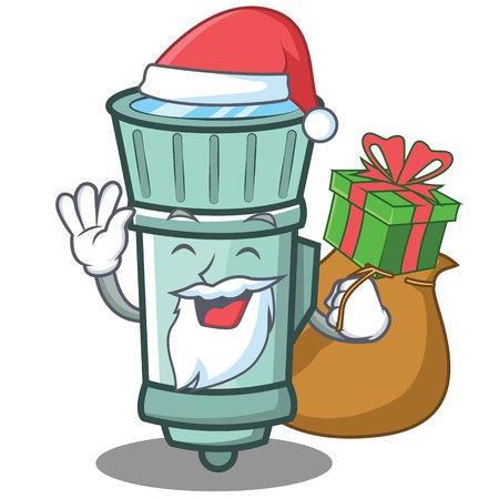 Santa flashlight cartoon character style.