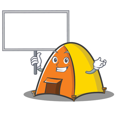 Bring board tent character cartoon style. Illustration