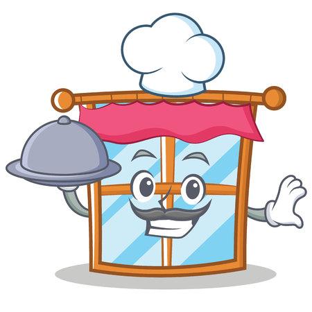 Chef windows character cartoon style Illustration