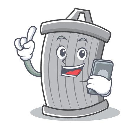 Met telefoon trash karakter cartoon stijl vector illsutration Stock Illustratie
