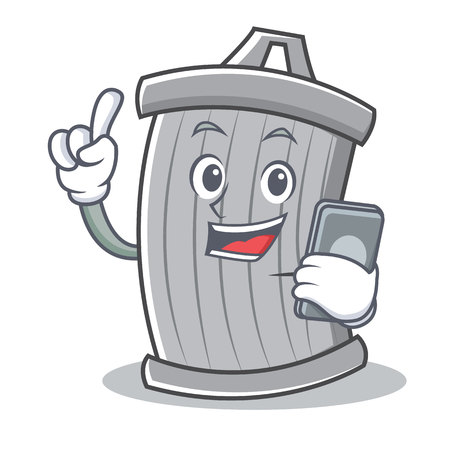 With phone trash character cartoon style vector illsutration