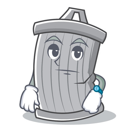Waiting trash character cartoon style vector illsutration