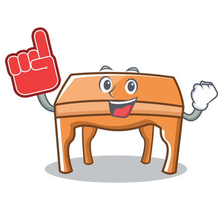Foam finger table character cartoon style vector illustration