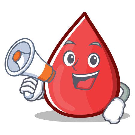 With Megaphone Blood Drop Cartoon Mascot Character Illustration