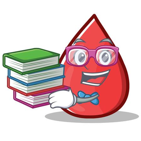 Geek Blood Drop Cartoon Mascot Character Vector Illustration