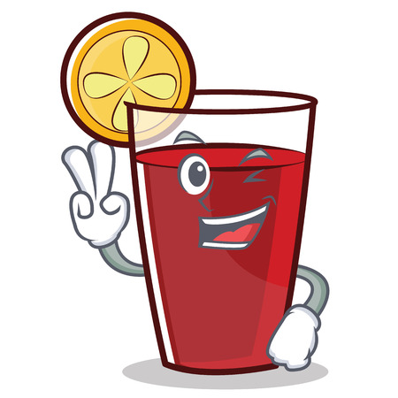 Two finger mulled wine cartoon character. Illustration