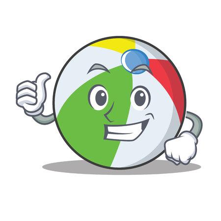 Thumbs up ball character cartoon style vector illustration.
