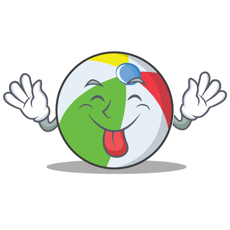 Tongue out ball character cartoon style Illustration