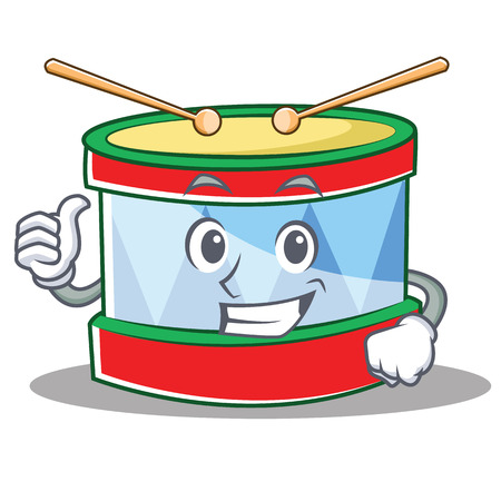 Thumbs up toy drum character cartoon vector illustration