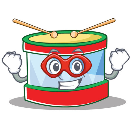Super hero toy drum character cartoon vector illustration