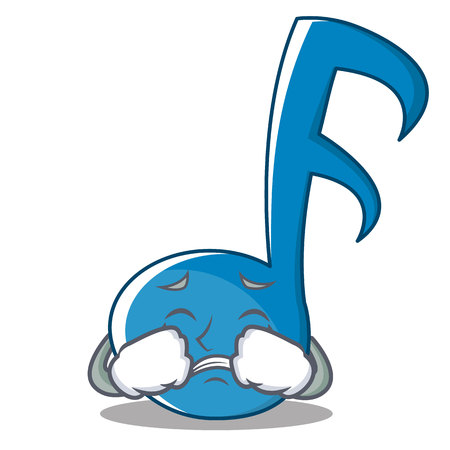 Crying Music Note Character Cartoon Vector Illustration