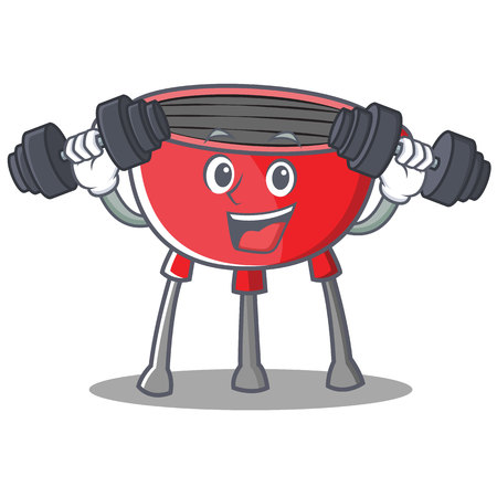 Fitness Barbecue Grill Cartoon Character.