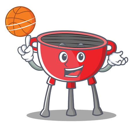 Basketball Barbecue Grill Cartoon Character.