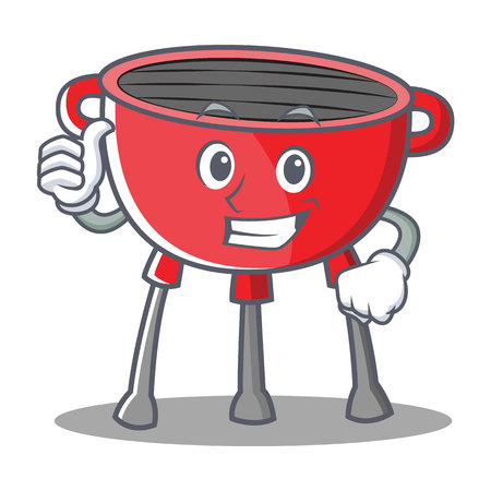 Thumbs Up Barbecue Grill Cartoon Character Illustration