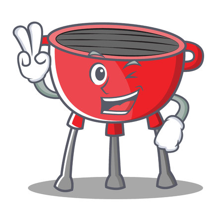 Two finger barbecue grill cartoon character vector illustration. Illustration