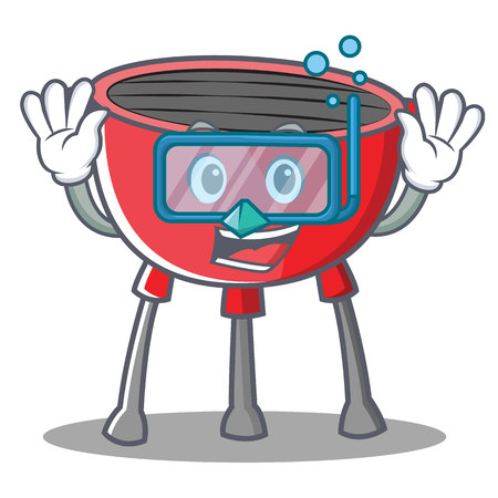 Diving barbecue grill cartoon character vector illustration. Illustration