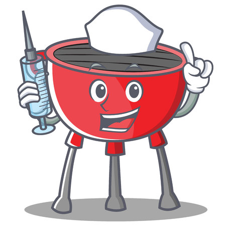 Nurse barbecue grill cartoon character vector illustration.